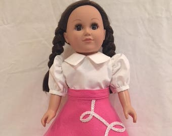 2pc Pink Poodle Skirt and White Shirt Set