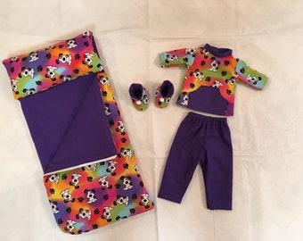 8b5d3dbb11 Tye Dye Dog Flannel Sleeping Bag w  Matching Pajamas   Slippers