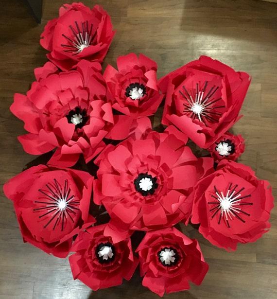 Fondo De Flores De Papel Rojo Pared De Flores De Papel Etsy
