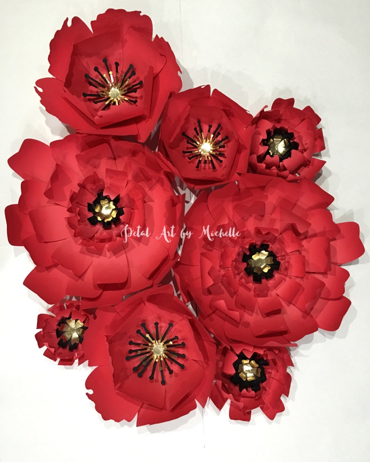 Red Paper Flower Backdrop Red Paper Flower Wall Handmade Paper