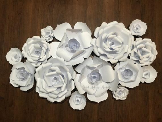 Paper flowers backdrop white paper flower wall paper flower etsy image 0 mightylinksfo