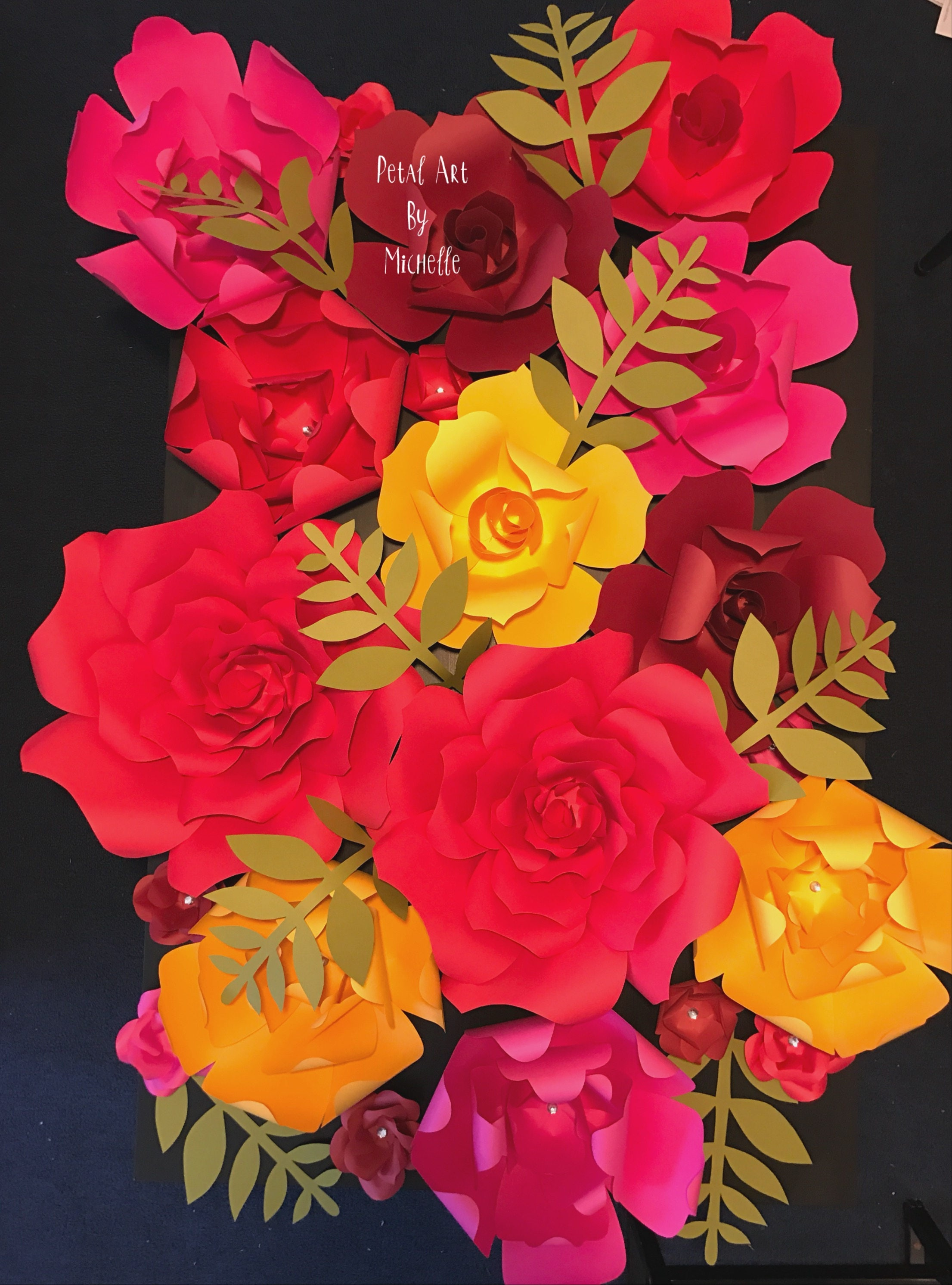 Colorful Paper Flower Wall Paper Flower Backdrop Medium Paper