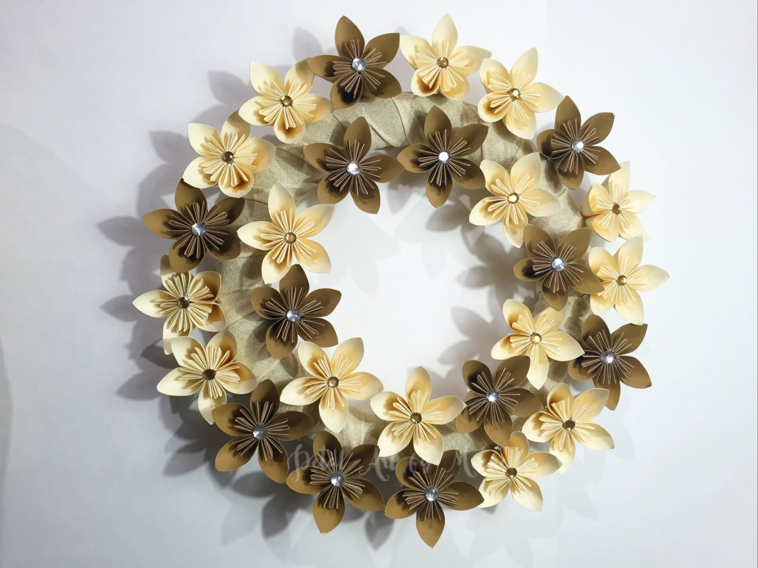 Origami Paper Flower Wreath Wall Dcor Home Dcor Christmas Dcor