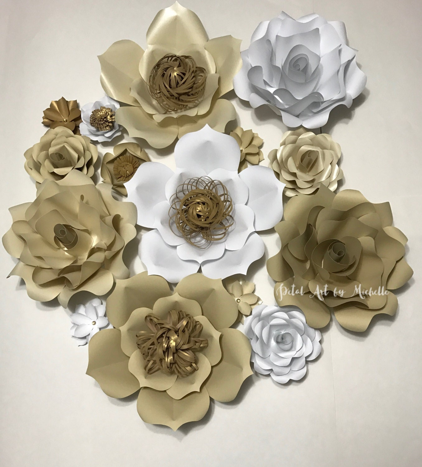 Cream And White Paper Flower Backdrop Paper Flower Decoration