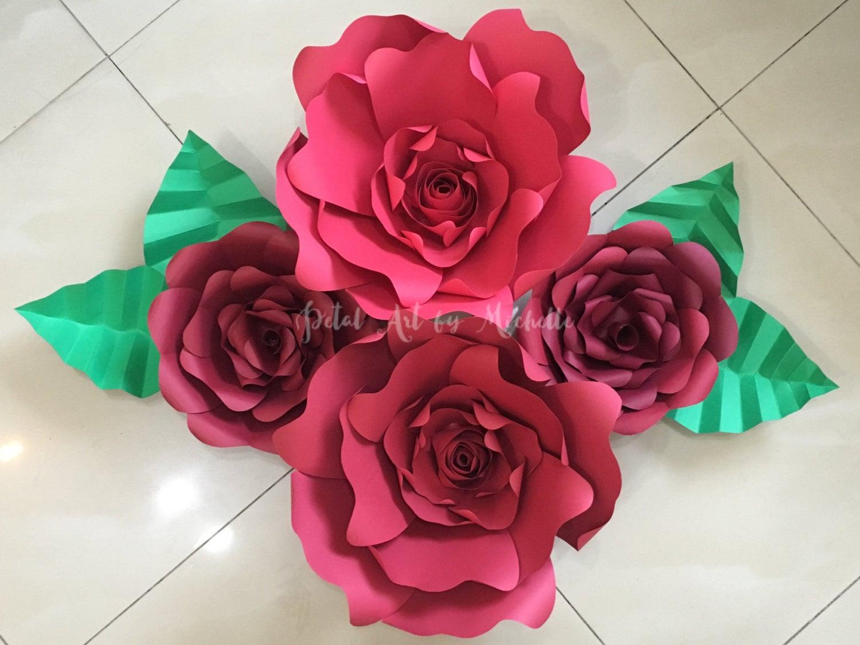 Red Paper Flower Set Of 4 Handmade Paper Flowers Paper Flower Wall