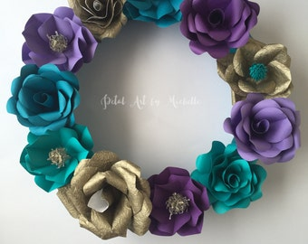 Origami paper flower wreath wall dcor home dcor christmas paper flower wreath front door wreaths home dcor wreath wreaths floral wreath wall dcor christmas wreath christmas decor wreath mightylinksfo