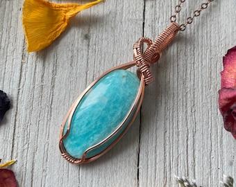 Copper Wrapped Amazonite Pendant / Amazonite Stone Pendant Necklace
