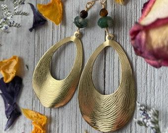 Textured Moss Agate Tear Drop Earrings