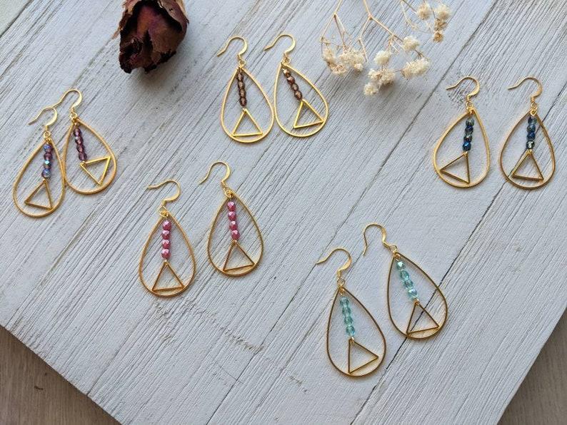 Beaded Teardrop Earrings  Raindrop Earrings  Geometric Earrings  Small Beaded Triangle Earrings  Pink Beaded EarringsOpen Drop Earrings