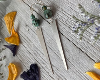 African Turquoise and Silver Spike Earrings / Long Earrings / Turquoise Earrings