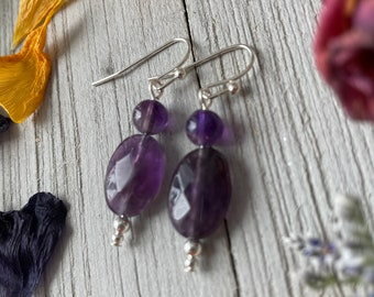 Amethyst Drop Earrings / Silver and Amethyst Earrings / Simple Drop Earrings