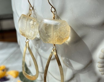 Citrine Teardrop Earrings / Open Teardrop Earrings / Citrine Gemstone Earrings
