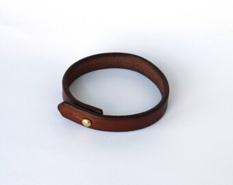 Leather Bracelet - Veg Tanned Bracelet - Handmade Bracelet - Leather Cuff - Dark Brown