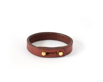 """Leather Bracelet - Veg Tanned Bracelet - Handmade Bracelet - Leather Cuff - """"Sága"""" - Mahogany"""