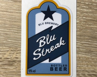 Team Fortress 2 BLU Streak Beer Label Decal