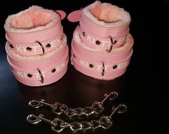 Baby Pink Wrist and Ankle Kitten cuff sets. Cute Kawaii Kitten / Babygirl / Princess cuffs. Vegan-Friendly FREE  link chain sets