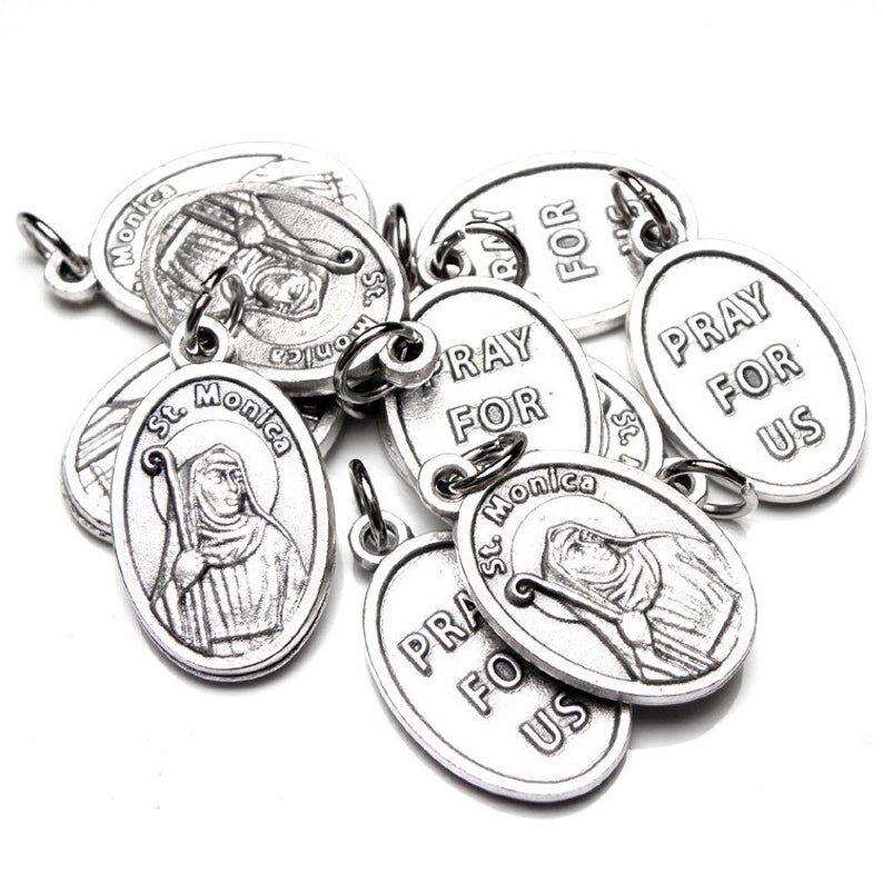 10 St  Monica Holy Medals, Catholic Gift, Lot of 10, Patron Saint of  Alcoholics, Abuse Victims, Difficult Marriages, Homemakers, Mothers