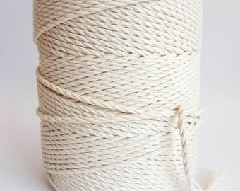 4mm macrame cord 260m Twisted cotton rope 1,5 kg Macrame rope. 175m Macrame cord 1 kg cotton cord 3 strand macrame rope. Cotton string yarn