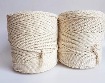 Macrame cord 4mm cotton rope. 3 kg twisted cotton rope. About 520 m macrame rope cotton. Cotton cord macrame, beige macrame rope, off white