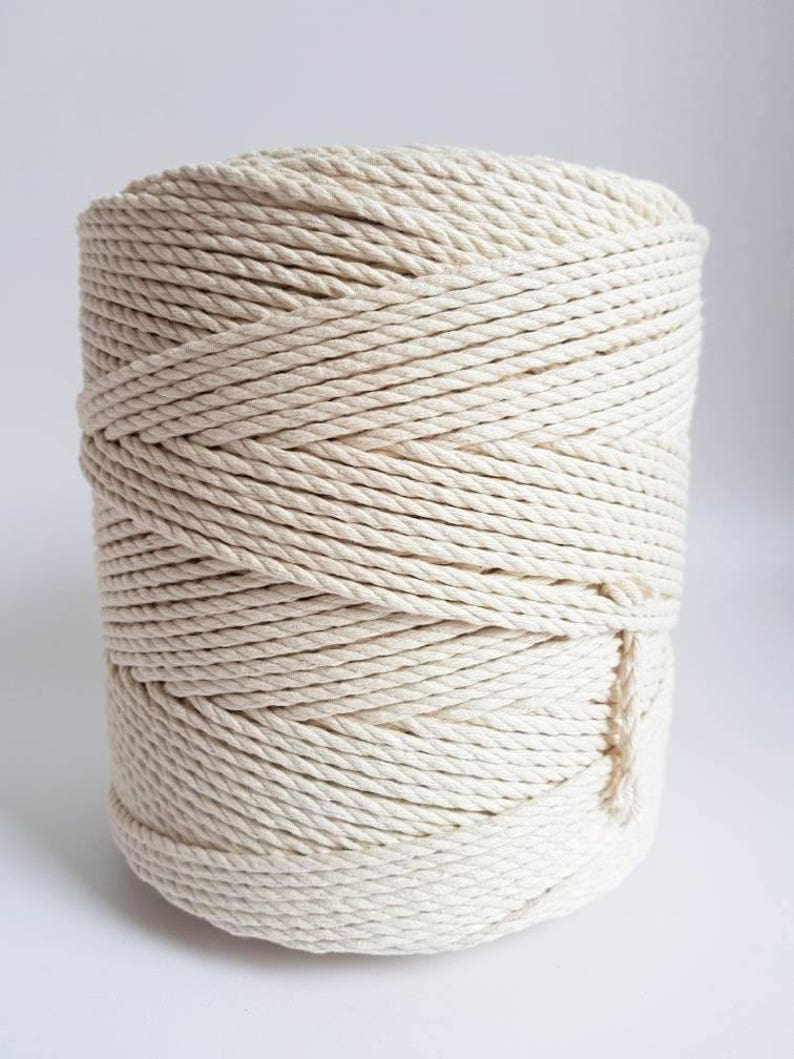 3 mm cotton rope. 1.5 kg Twisted cotton rope. Macrame rope. image 0
