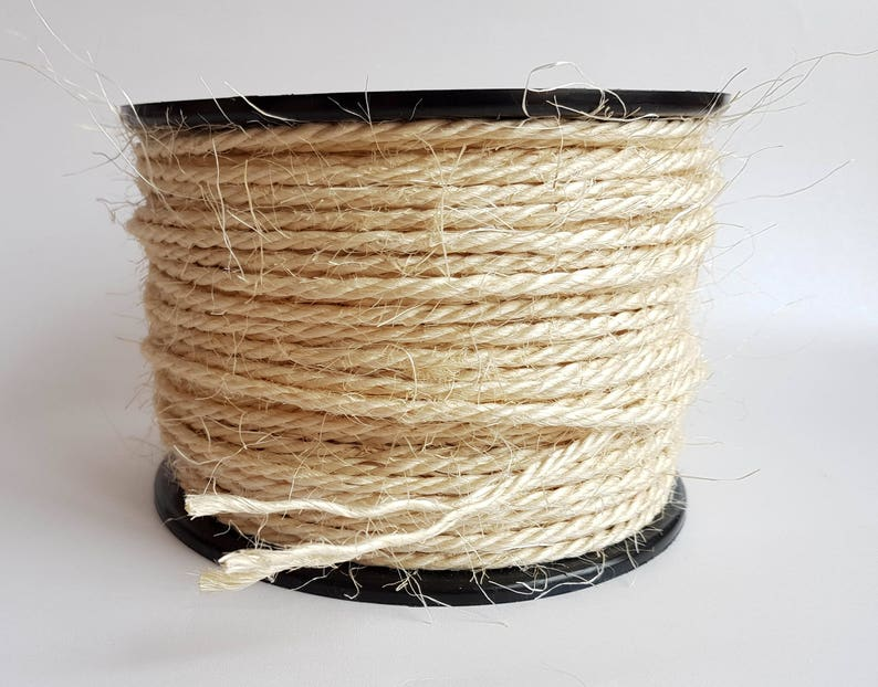 4mm Natural Sisal rope 20m Twisted Sisal rope  Rope for cat tower  Cat  scratching post rope  Cat scratch rope  Sisal rug rope