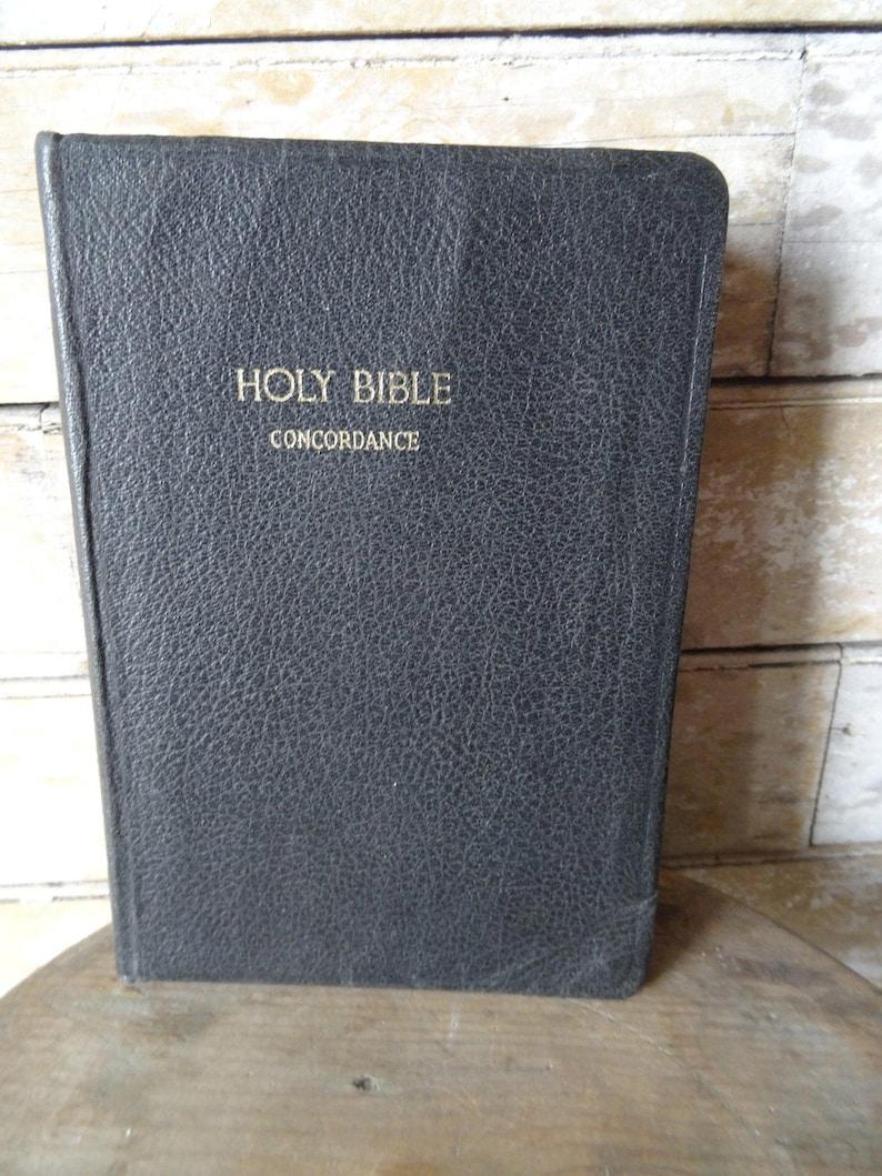 Vintage Leather Black Bible Concordance 1952