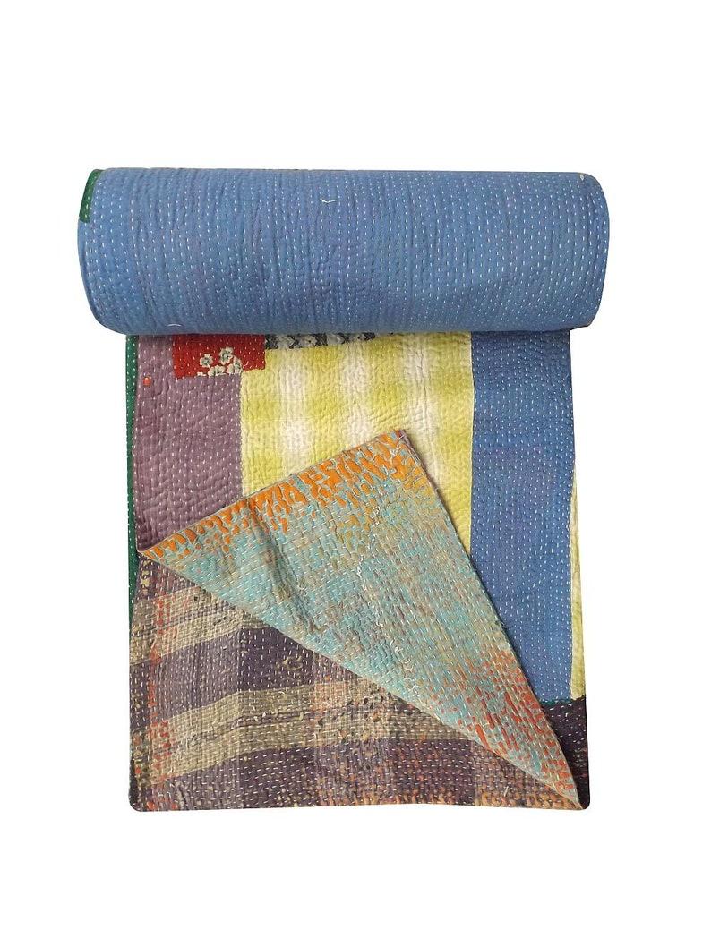Vintage Handmade  Kantha Quilt Sari Patchwork Kantha Quilt