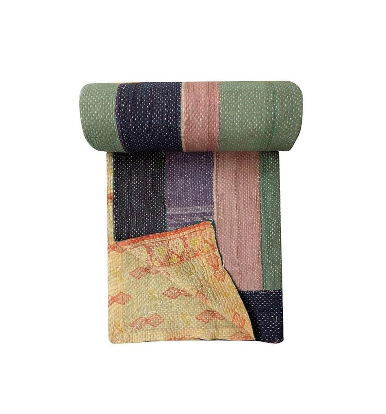 Indian Handmade Quilt Bedspread Throw Cotton Vintage Kantha Blanket Gudari Twin