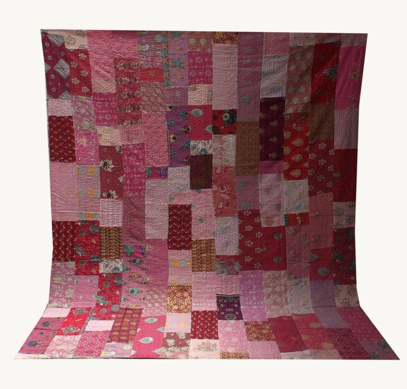 Vintage Indian Cotton Sari Patchwork Kantha Quilt Handmade Kantha Queen Size Bohemian Kantha Blanket Kantha Bedspread Sofa Decor Throw