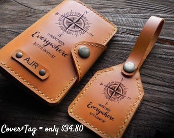 Leather Passport Cover/Passport cover + Luggage Tag/Free Personalized Passport Case/Leather Gift/Travel Set