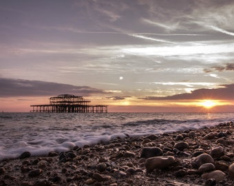 Brighton Beach, Brighton Sunset, West Pier, West Pier Sunset, Brighton Pier, Beach Sunset, Summer Sunset, Beach Photo, Seaside Sunset