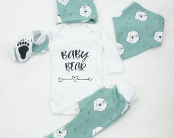 Baby Boy coming home outfit,newborn boy gift set,unisex,baby bear,organic cotton clothes set for newborn boy,baby bear outfit,hat,pants,bib