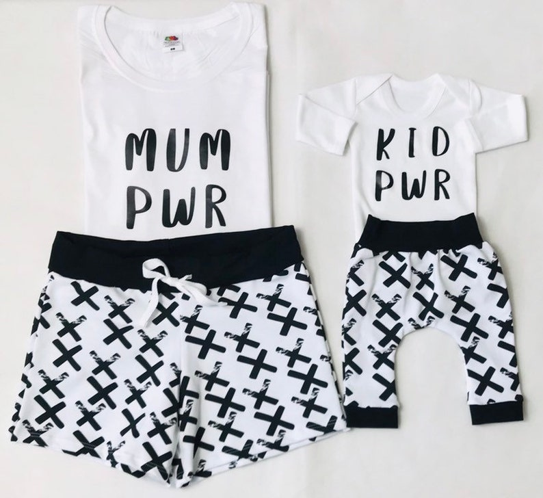 mommy and me set Mum and baby power Mommy and me tshirt and shorts