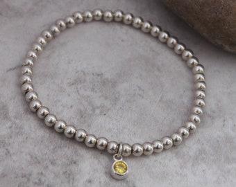 Yellow Bracelet - Yellow Charm Bracelet - Gift For Mum - Silver Yellow Stack Bracelet - Yellow Stretch Bracelet - Yellow Silver Bracelet
