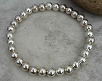 Sterling Silver Stretch Bracelet - Bead Bracelet - Silver Stacking Bracelet - Silver Beaded Bracelet - Gift For Her - Stackable Bracelet