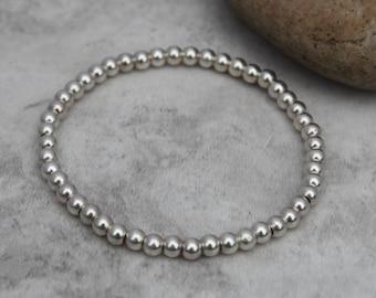 Sterling Silver Bracelet - Bead Bracelet - Stacking Bracelet - Stretch Bracelet - Gift For Her - Stack Bracelet - Silver Jewellery