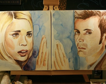 Watercolor Portraits of Famous Duos - Doctor Who - The 10th Doctor and Rose Tyler