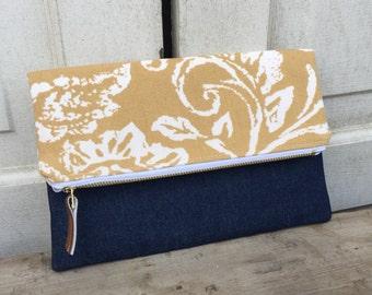 Fold Over Clutch, Fold Over Purse, Handmade Clutch, Fabric and Vinyl Fold Over Clutch, Handmade Purse