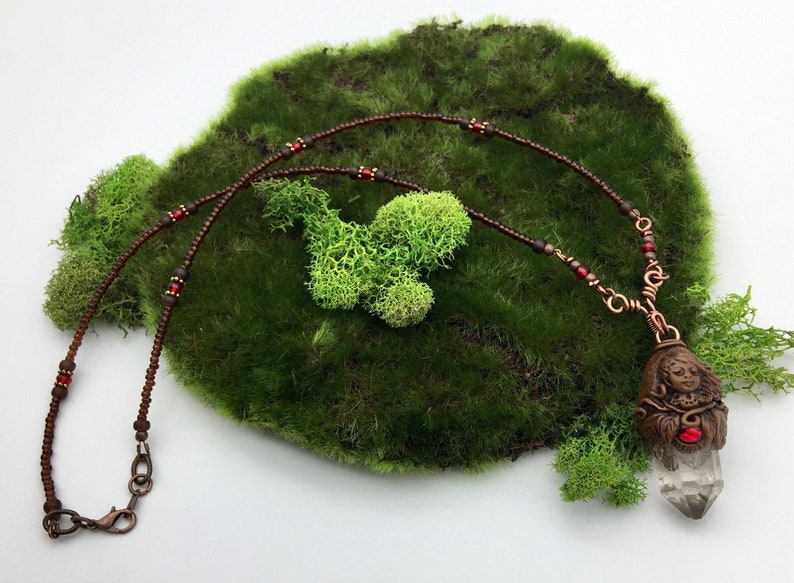 Earthy brown with ruby red glass and clear quartz Red Forest Child Polymer Clay and Quartz Crystal Pendant Necklace Crystal Amulets