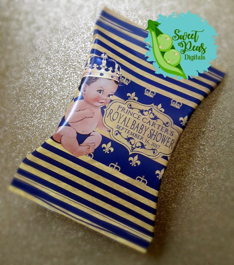 Royal Prince Baby Shower Chip Bag with Water Bottle Combo