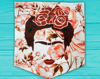 """Frida Kahlo """"Cejas"""" Red Flowers Stick-on Pocket Patches - Patches for Tshirts"""