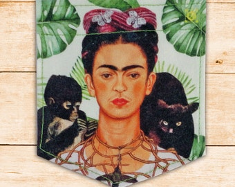 Frida Kahlo Changos green leaves Sticky Pocket Patches - Patch for Tshirts