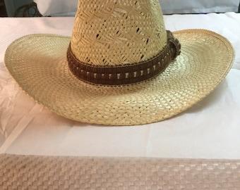 Bradford Men s or Women s Natural Straw Western Cowboy Hat Brown Cloth Band Size  7 1 8 2206a4c1735b