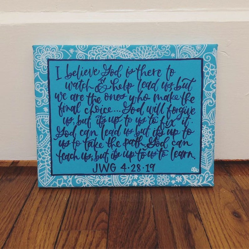 custom 8x10 canvas  quote art  hand-painted calligraphy  horizontal/landscape