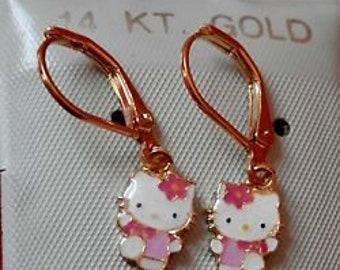 cb83dfe8d Lovely Hello Kitty Cat Sterling Silver Stud Earring - Cat earrings -  apatite earrings - statement earrings - Gold Filled