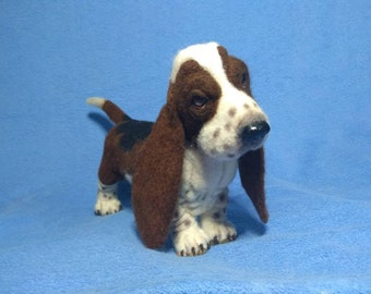 BASSET HOUND Furry Head Realistic Stone Resin MAGNET