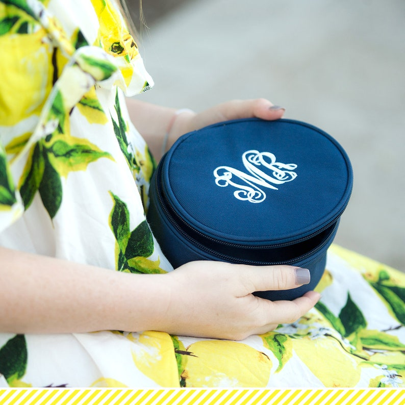 Personalized Jewelry Box Embroidered Black Bridesmaids Gift Mint Monogrammed Jewelry Box Navy