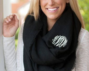 SALE!! Londyn Infiniti Scarf, Personalized Scarf, Embroidered Scarf, Monogrammed Scarf, Free Personalization