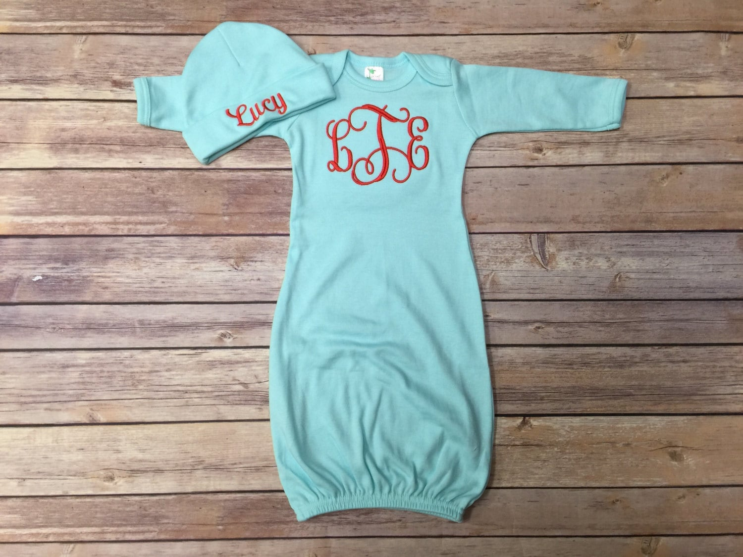 Mint Baby Gown, Baby Gown, Hospital Gown, Embroidered Baby Gown ...