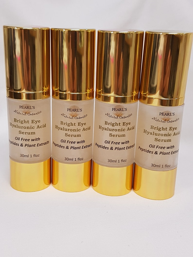 Hyaluronic Acid Eye Serum with Peptides & Plant Extracts, Oil Free Formula,  Vegan